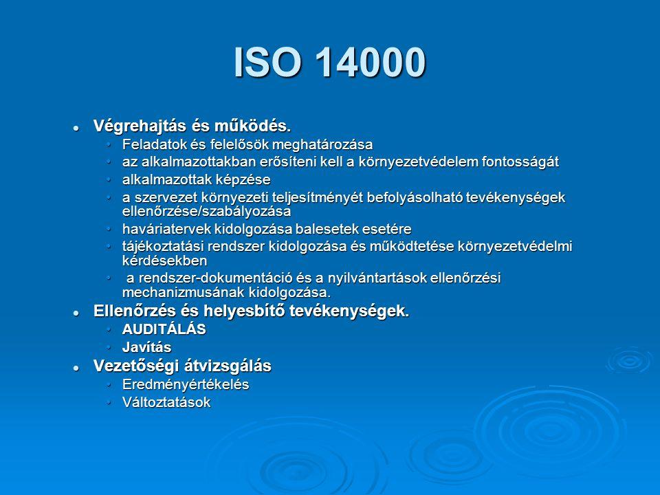 ISO 14000 Végrehajtás és működés. Végrehajtás és működés. Feladatok és felelősök meghatározásaFeladatok és felelősök meghatározása az alkalmazottakban