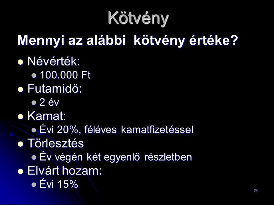 24Kötvény Mennyi az alábbi kötvény értéke.