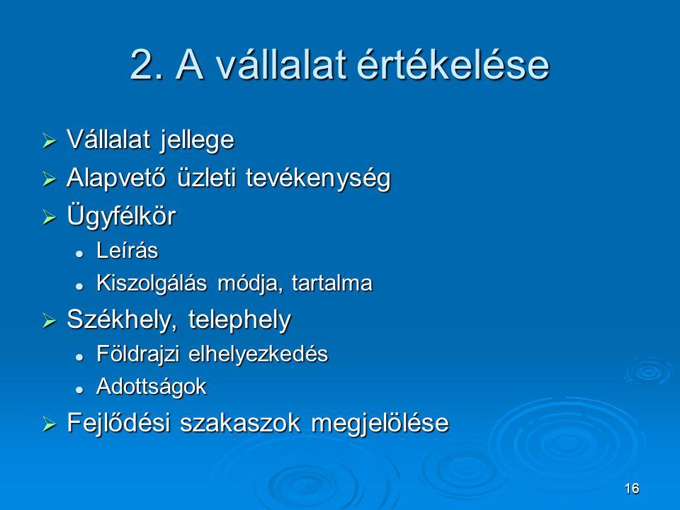 16 2. A vállalat értékelése  Vállalat jellege  Alapvető üzleti tevékenység  Ügyfélkör Leírás Leírás Kiszolgálás módja, tartalma Kiszolgálás módja,