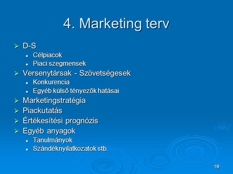 19 4. Marketing terv  D-S Célpiacok Célpiacok Piaci szegmensek Piaci szegmensek  Versenytársak - Szövetségesek Konkurencia Konkurencia Egyéb külső t