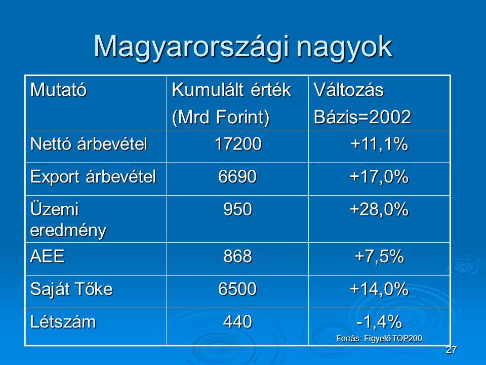 27 Magyarországi nagyok Mutató Kumulált érték (Mrd Forint) VáltozásBázis=2002 Nettó árbevétel 17200+11,1% Export árbevétel 6690+17,0% Üzemi eredmény 9