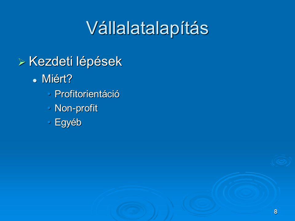 9 Vállalatalapítás  Összefoglalás Természetes személy vagy cég Természetes személy vagy cég Szolgáltatás, Termelés Szolgáltatás, Termelés Ev., Bt., Kft., Rt., Kkt., Kht., Alapítvány stb.