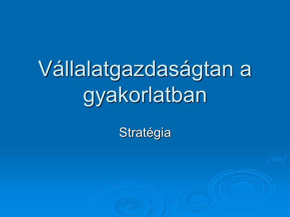 Vállalatgazdaságtan a gyakorlatban Stratégia