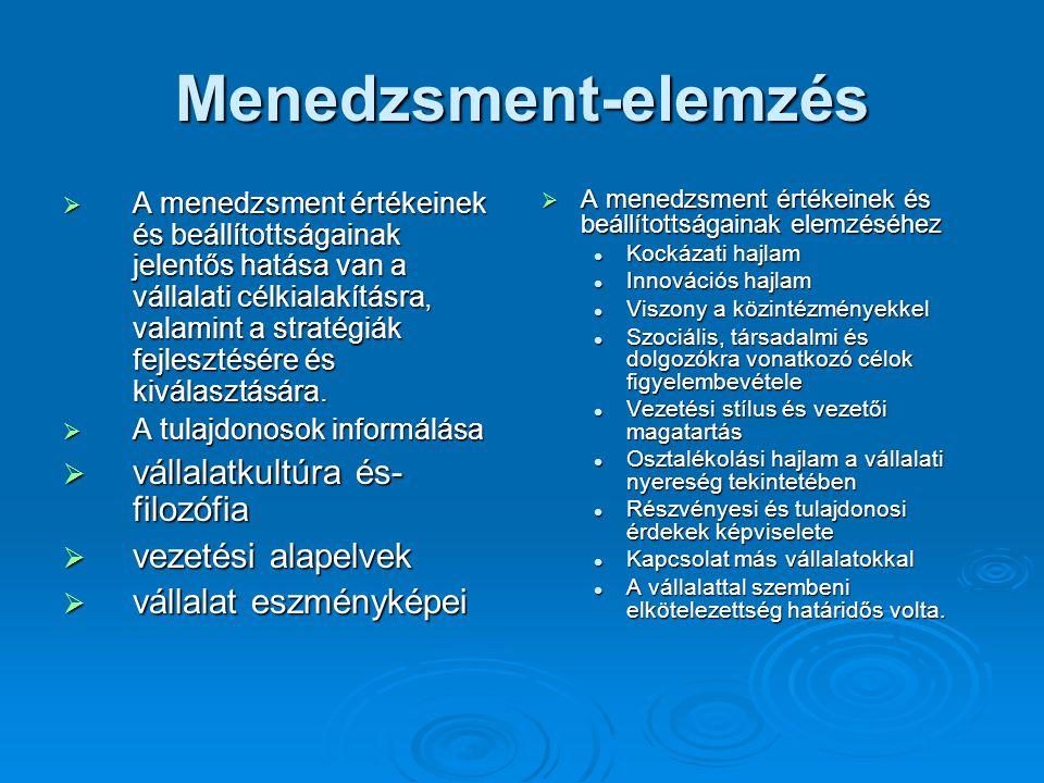 Menedzsment-elemzés  A menedzsment értékeinek és beállítottságainak jelentős hatása van a vállalati célkialakításra, valamint a stratégiák fejlesztésére és kiválasztására.