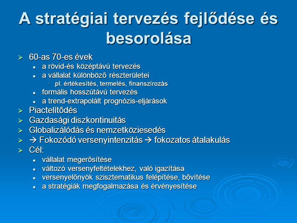 A stratégiai tervezés fejlődése és besorolása  60-as 70-es évek a rövid-és középtávú tervezés a rövid-és középtávú tervezés a vállalat különböző részterületei a vállalat különböző részterületei pl.