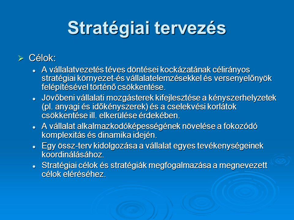 Stratégiai tervezés  Célok: A vállalatvezetés téves döntései kockázatának célirányos stratégiai környezet-és vállalatelemzésekkel és versenyelőnyök felépítésével történő csökkentése.