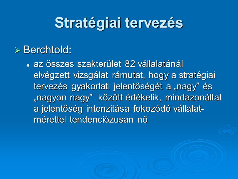 """Stratégiai tervezés  Berchtold: az összes szakterület 82 vállalatánál elvégzett vizsgálat rámutat, hogy a stratégiai tervezés gyakorlati jelentőségét a """"nagy és """"nagyon nagy között értékelik, mindazonáltal a jelentőség intenzitása fokozódó vállalat- mérettel tendenciózusan nő az összes szakterület 82 vállalatánál elvégzett vizsgálat rámutat, hogy a stratégiai tervezés gyakorlati jelentőségét a """"nagy és """"nagyon nagy között értékelik, mindazonáltal a jelentőség intenzitása fokozódó vállalat- mérettel tendenciózusan nő"""