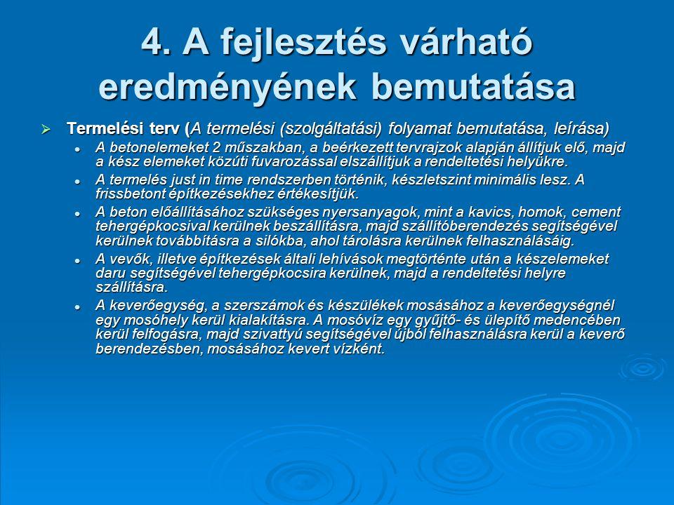 4. A fejlesztés várható eredményének bemutatása  Termelési terv (A termelési (szolgáltatási) folyamat bemutatása, leírása) A betonelemeket 2 műszakba