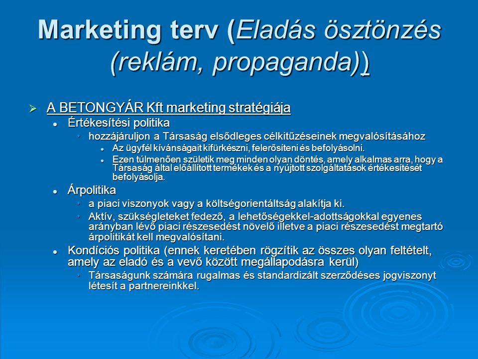 Marketing terv (Eladás ösztönzés (reklám, propaganda))  A BETONGYÁR Kft marketing stratégiája Értékesítési politika Értékesítési politika hozzájáruljon a Társaság elsődleges célkitűzéseinek megvalósításáhozhozzájáruljon a Társaság elsődleges célkitűzéseinek megvalósításához Az ügyfél kívánságait kifürkészni, felerősíteni és befolyásolni.