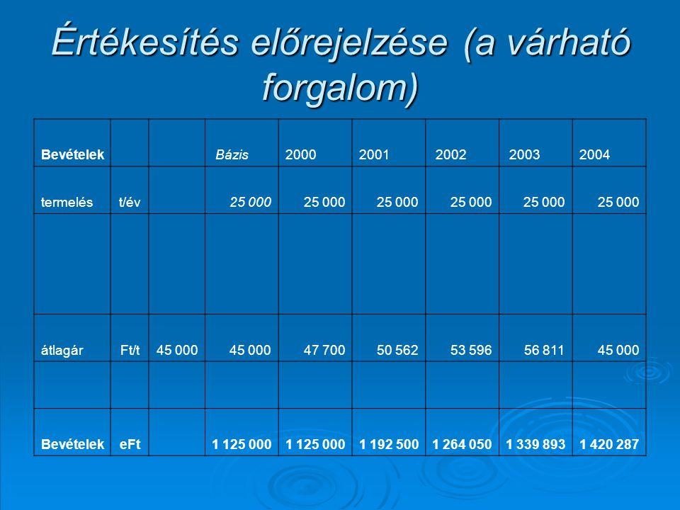 Értékesítés előrejelzése (a várható forgalom) Bevételek Bázis20002001 2002 20032004 termelést/év 25 000 átlagárFt/t45 000 47 70050 56253 59656 81145 000 BevételekeFt 1 125 000 1 192 5001 264 0501 339 8931 420 287