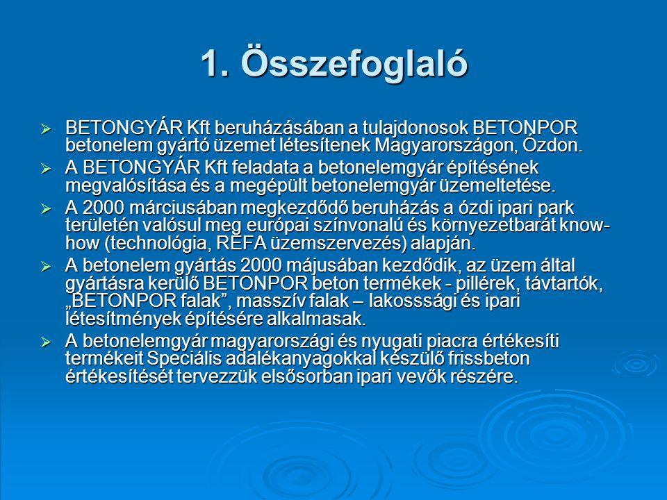 1. Összefoglaló  BETONGYÁR Kft beruházásában a tulajdonosok BETONPOR betonelem gyártó üzemet létesítenek Magyarországon, Ózdon.  A BETONGYÁR Kft fel