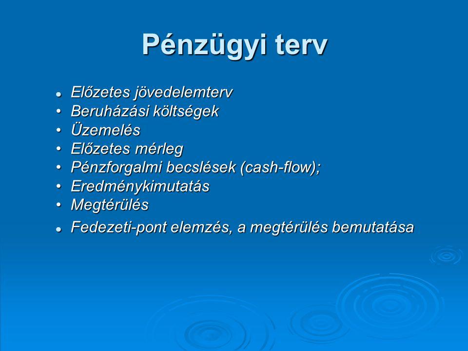 Pénzügyi terv Előzetes jövedelemterv Előzetes jövedelemterv Beruházási költségekBeruházási költségek ÜzemelésÜzemelés Előzetes mérlegElőzetes mérleg Pénzforgalmi becslések (cash-flow);Pénzforgalmi becslések (cash-flow); EredménykimutatásEredménykimutatás MegtérülésMegtérülés Fedezeti-pont elemzés, a megtérülés bemutatása Fedezeti-pont elemzés, a megtérülés bemutatása
