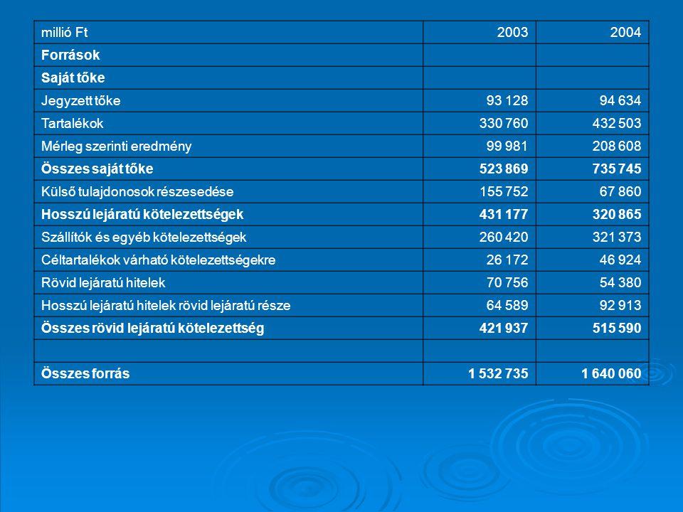 millió Ft20032004 Források Saját tőke Jegyzett tőke93 12894 634 Tartalékok330 760432 503 Mérleg szerinti eredmény99 981208 608 Összes saját tőke523 86