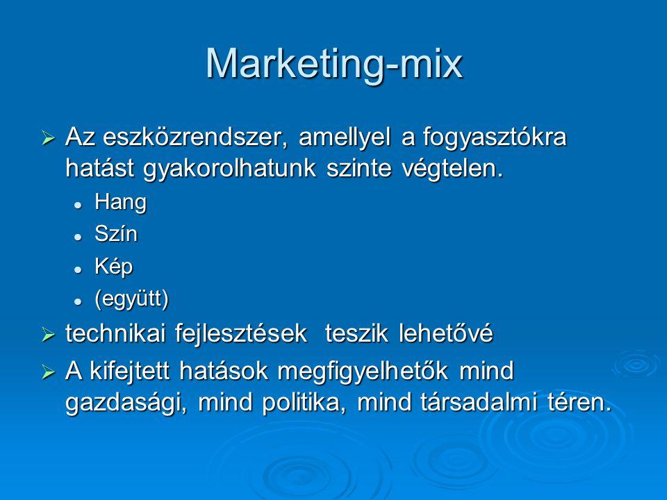 Marketing-mix  Az eszközrendszer, amellyel a fogyasztókra hatást gyakorolhatunk szinte végtelen. Hang Hang Szín Szín Kép Kép (együtt) (együtt)  tech