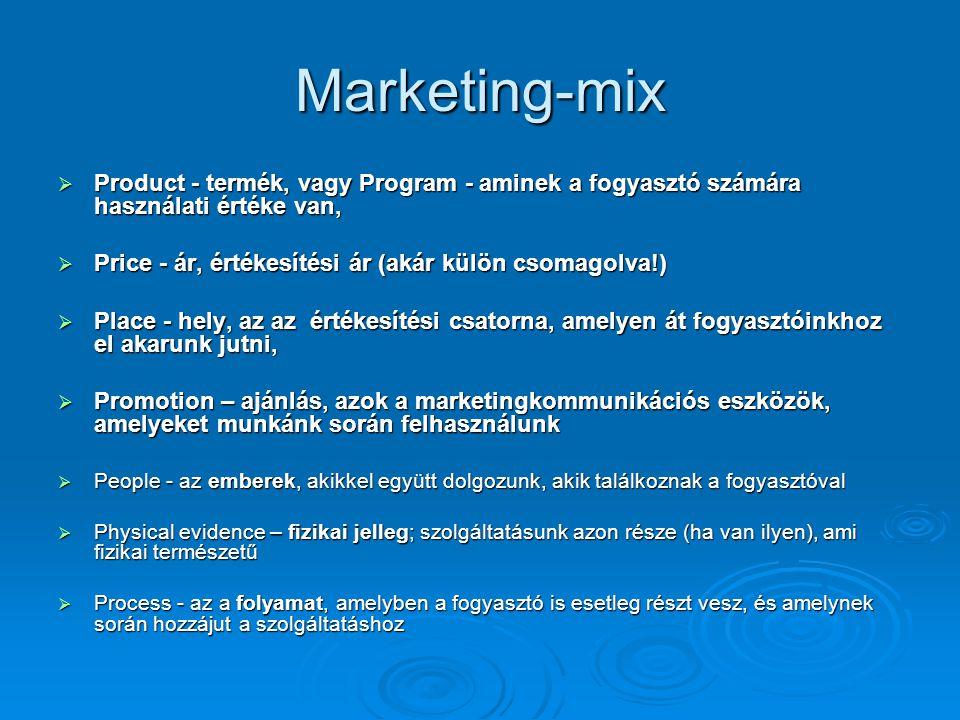 Marketing-mix  Product - termék, vagy Program - aminek a fogyasztó számára használati értéke van,  Price - ár, értékesítési ár (akár külön csomagolv