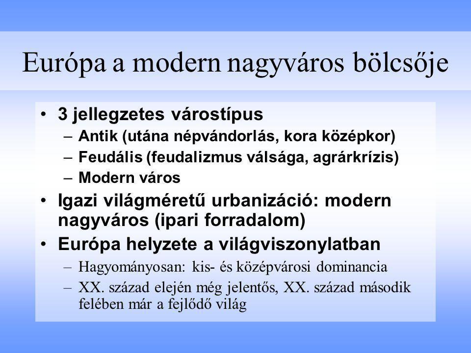 Európa a modern nagyváros bölcsője 3 jellegzetes várostípus –Antik (utána népvándorlás, kora középkor) –Feudális (feudalizmus válsága, agrárkrízis) –M