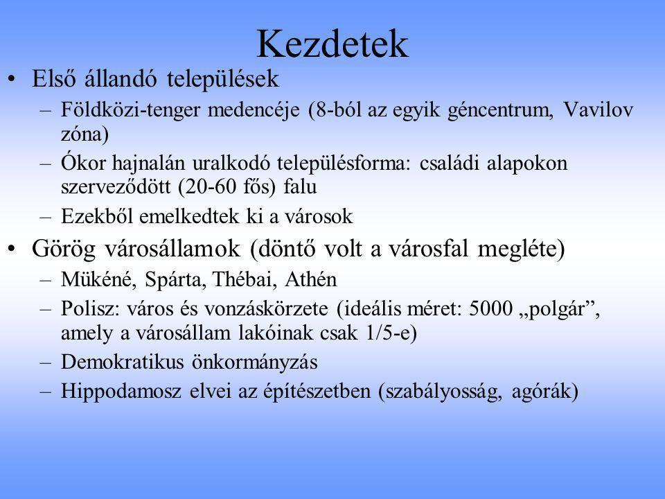 Kezdetek Első állandó települések –Földközi-tenger medencéje (8-ból az egyik géncentrum, Vavilov zóna) –Ókor hajnalán uralkodó településforma: családi
