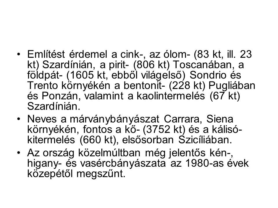 Említést érdemel a cink-, az ólom- (83 kt, ill.