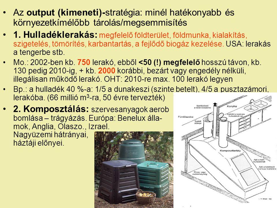 Az output (kimeneti)-stratégia: minél hatékonyabb és környezetkímélőbb tárolás/megsemmisítés 1.
