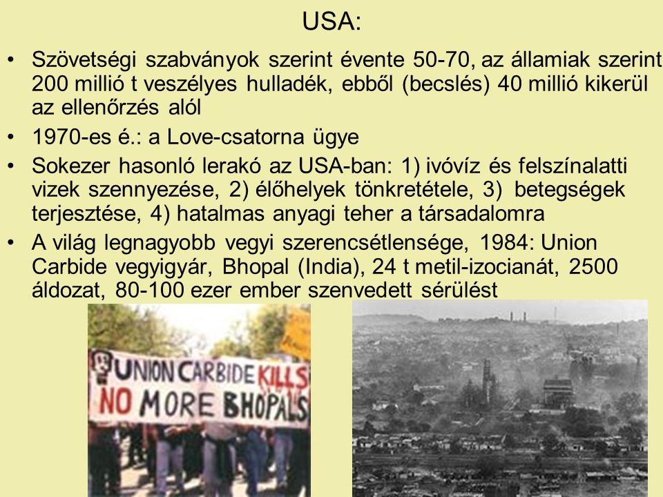 USA: Szövetségi szabványok szerint évente 50-70, az államiak szerint 200 millió t veszélyes hulladék, ebből (becslés) 40 millió kikerül az ellenőrzés alól 1970-es é.: a Love-csatorna ügye Sokezer hasonló lerakó az USA-ban: 1) ivóvíz és felszínalatti vizek szennyezése, 2) élőhelyek tönkretétele, 3) betegségek terjesztése, 4) hatalmas anyagi teher a társadalomra A világ legnagyobb vegyi szerencsétlensége, 1984: Union Carbide vegyigyár, Bhopal (India), 24 t metil-izocianát, 2500 áldozat, 80-100 ezer ember szenvedett sérülést