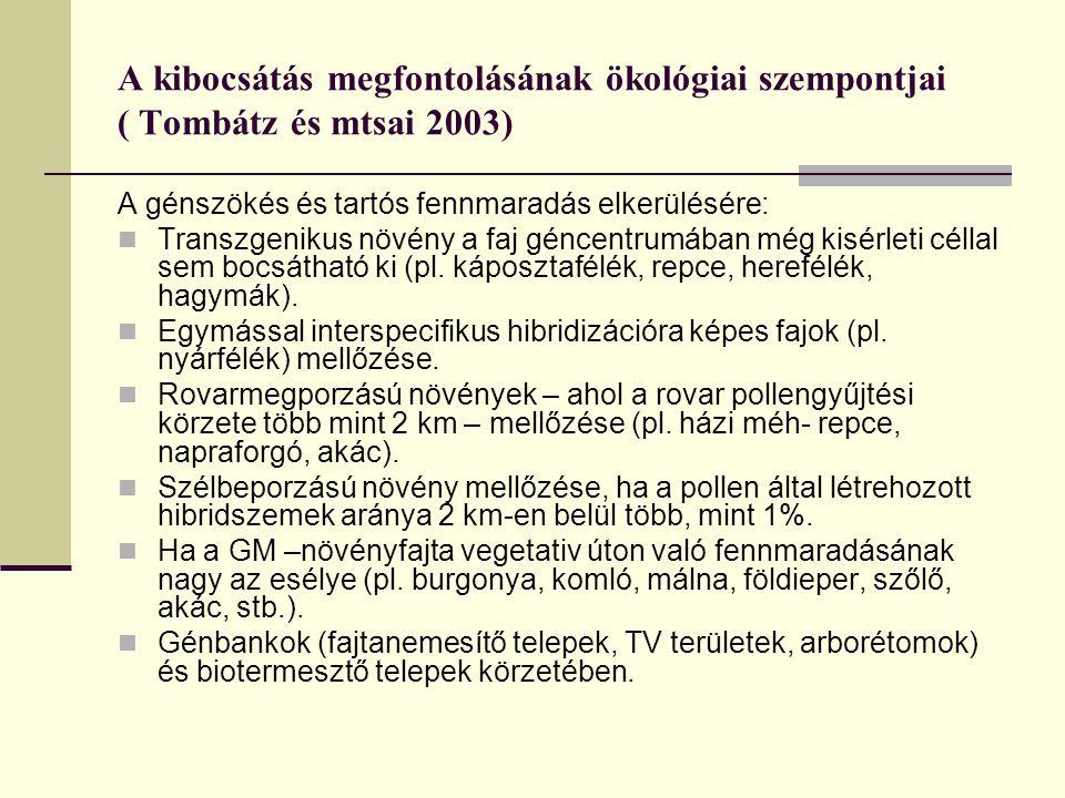 A kibocsátás megfontolásának ökológiai szempontjai ( Tombátz és mtsai 2003) A génszökés és tartós fennmaradás elkerülésére: Transzgenikus növény a faj