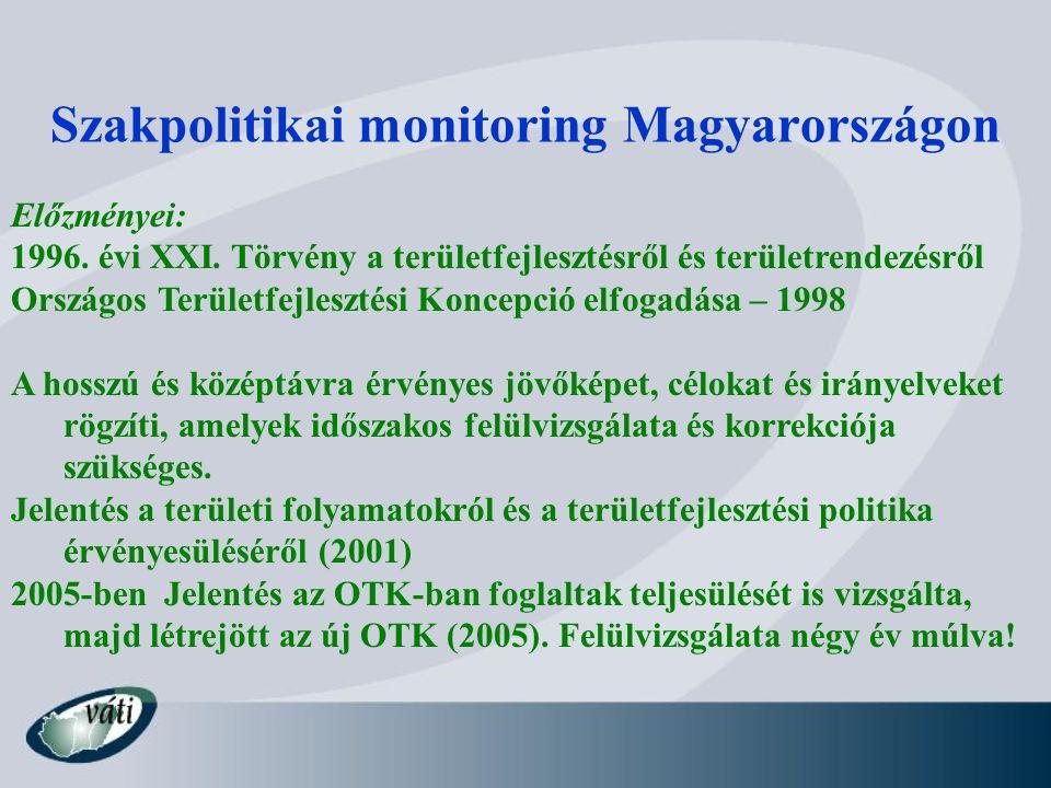 Szakpolitikai monitoring Magyarországon Előzményei: 1996. évi XXI. Törvény a területfejlesztésről és területrendezésről Országos Területfejlesztési Ko