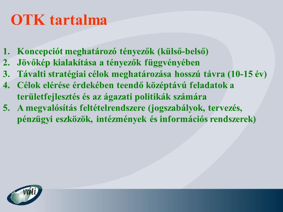OTK tartalma 1.Koncepciót meghatározó tényezők (külső-belső) 2.Jövőkép kialakítása a tényezők függvényében 3.Távalti stratégiai célok meghatározása ho