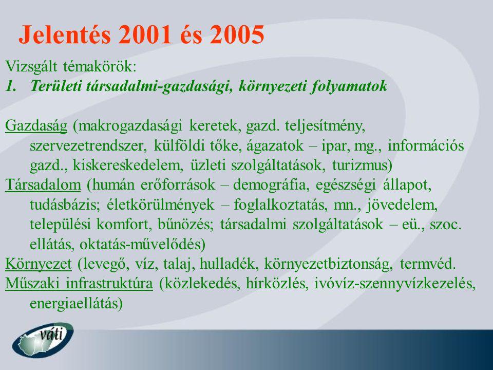 Jelentés 2001 és 2005 Vizsgált témakörök: 1.Területi társadalmi-gazdasági, környezeti folyamatok Gazdaság (makrogazdasági keretek, gazd. teljesítmény,
