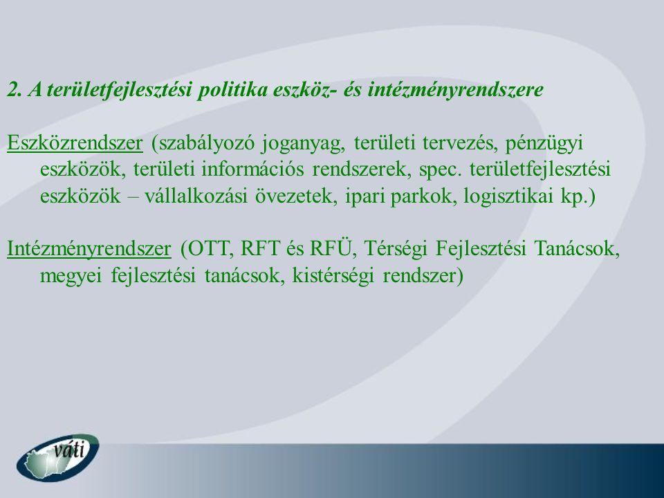 2. A területfejlesztési politika eszköz- és intézményrendszere Eszközrendszer (szabályozó joganyag, területi tervezés, pénzügyi eszközök, területi inf
