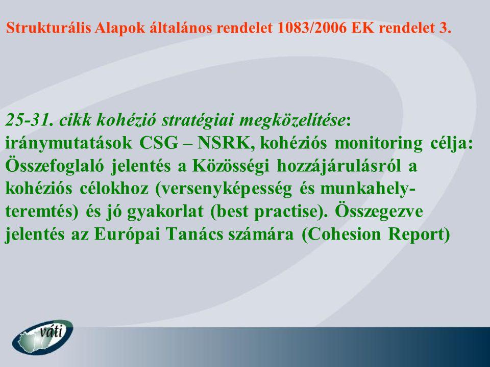 Strukturális Alapok általános rendelet 1083/2006 EK rendelet 3. 25-31. cikk kohézió stratégiai megközelítése: iránymutatások CSG – NSRK, kohéziós moni