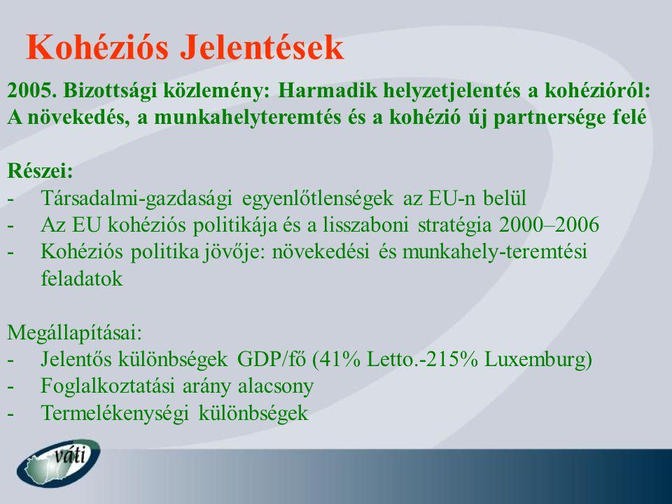 Kohéziós Jelentések 2005. Bizottsági közlemény: Harmadik helyzetjelentés a kohézióról: A növekedés, a munkahelyteremtés és a kohézió új partnersége fe