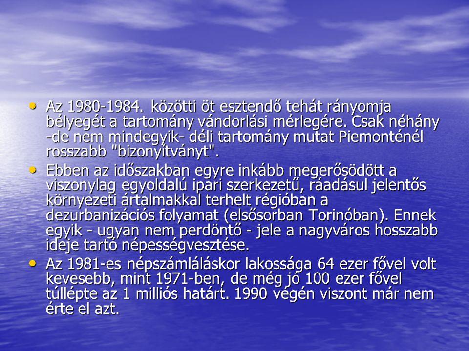 Az 1980-1984.közötti öt esztendő tehát rányomja bélyegét a tartomány vándorlási mérlegére.