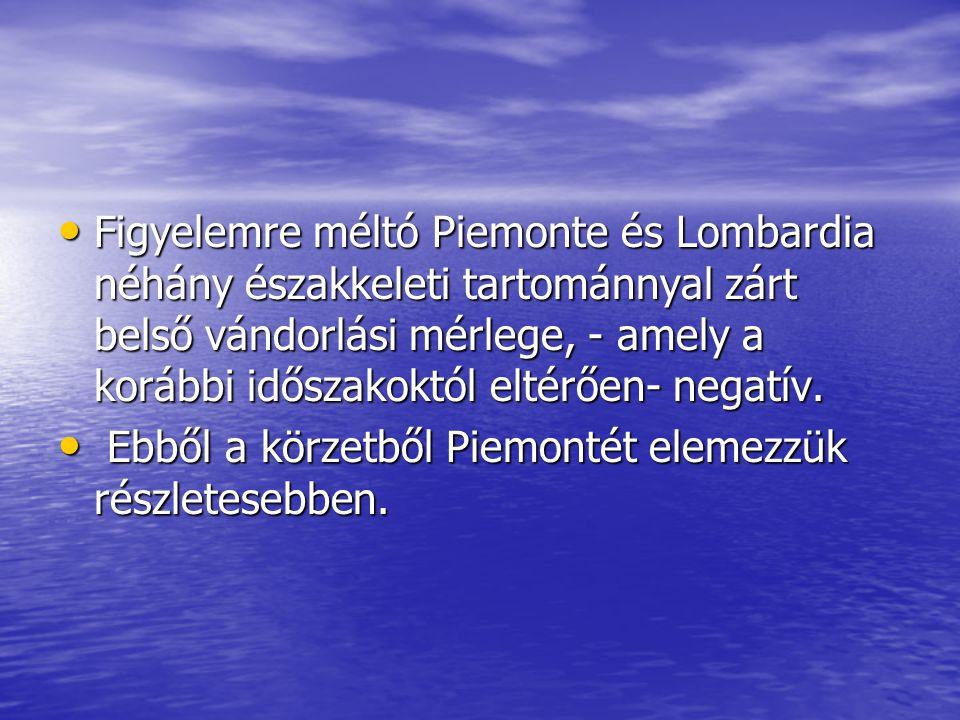 Figyelemre méltó Piemonte és Lombardia néhány északkeleti tartománnyal zárt belső vándorlási mérlege, - amely a korábbi időszakoktól eltérően- negatív.