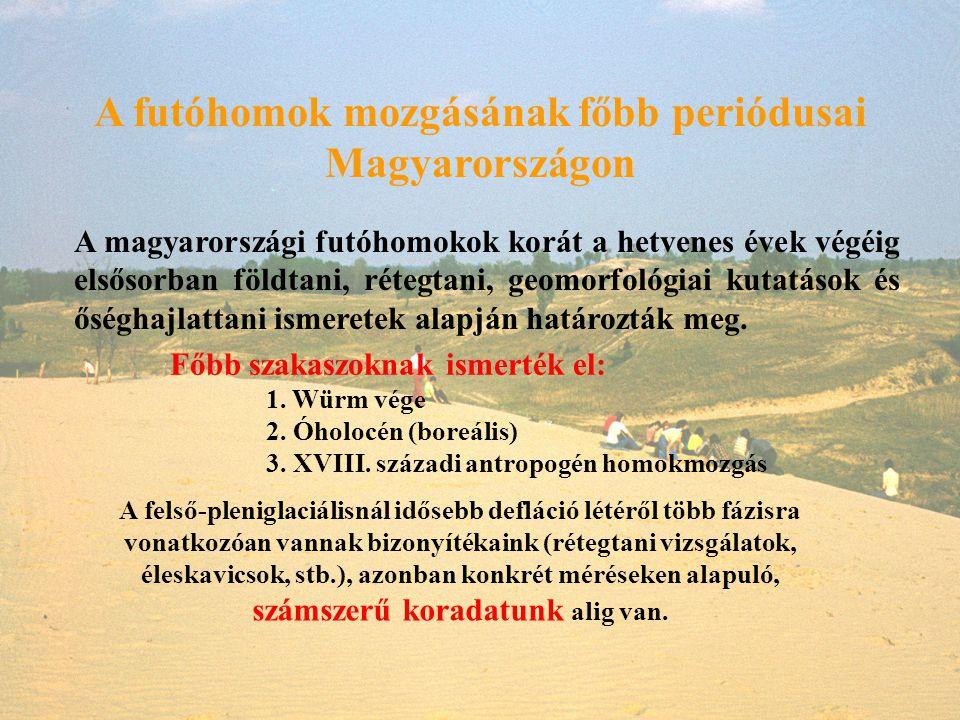 A futóhomok mozgásának főbb periódusai Magyarországon A magyarországi futóhomokok korát a hetvenes évek végéig elsősorban földtani, rétegtani, geomorf