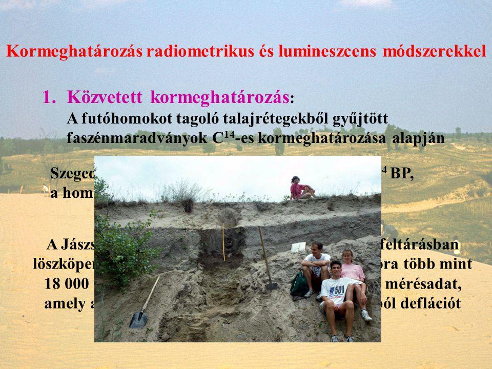 Kormeghatározás radiometrikus és lumineszcens módszerekkel 1.Közvetett kormeghatározás : A futóhomokot tagoló talajrétegekből gyűjtött faszénmaradvány