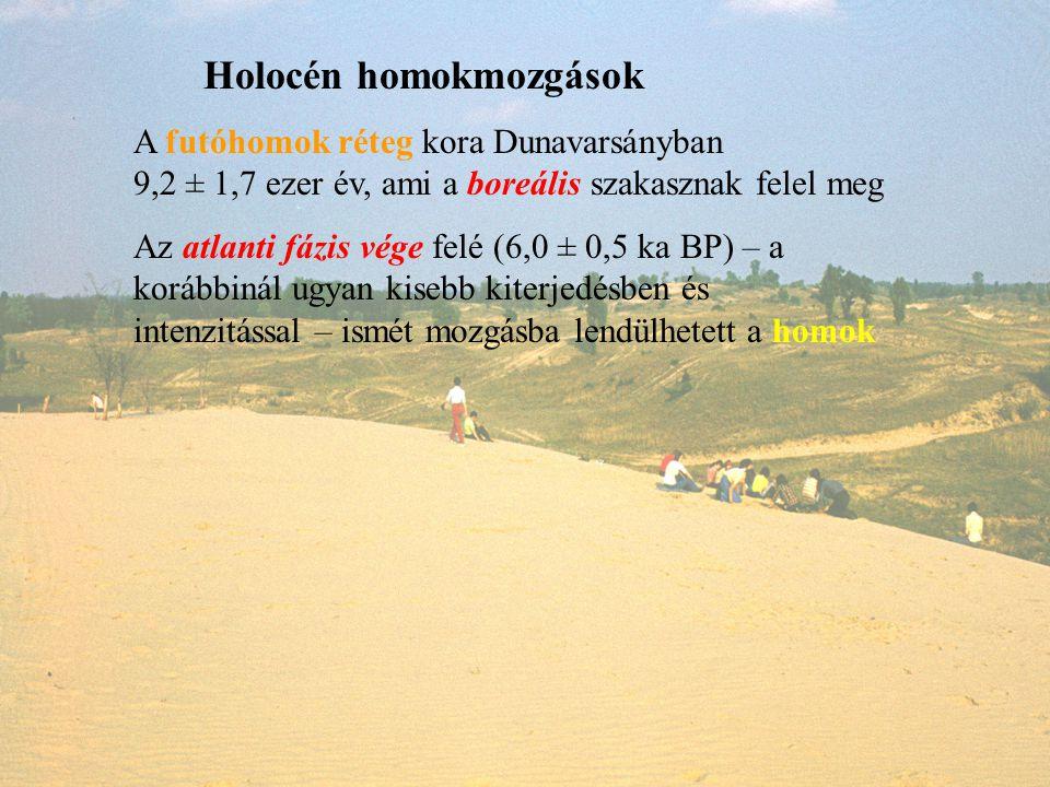 A futóhomok réteg kora Dunavarsányban 9,2 ± 1,7 ezer év, ami a boreális szakasznak felel meg Holocén homokmozgások Az atlanti fázis vége felé (6,0 ± 0