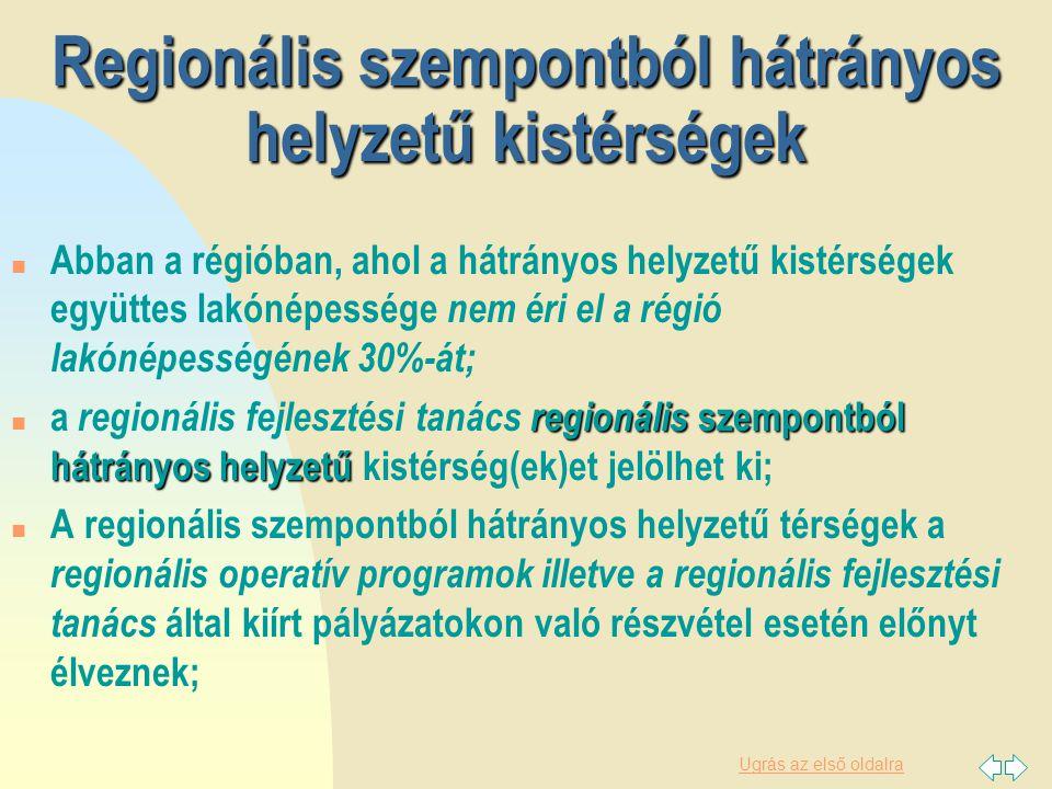 Ugrás az első oldalra A kedvezményezett térségek rendszere Hátrányos helyzetű térségek Leghátrányosabb helyzetű térségek Leghátrányosabb helyzetű térségek térségek Komplex program 94 47 33