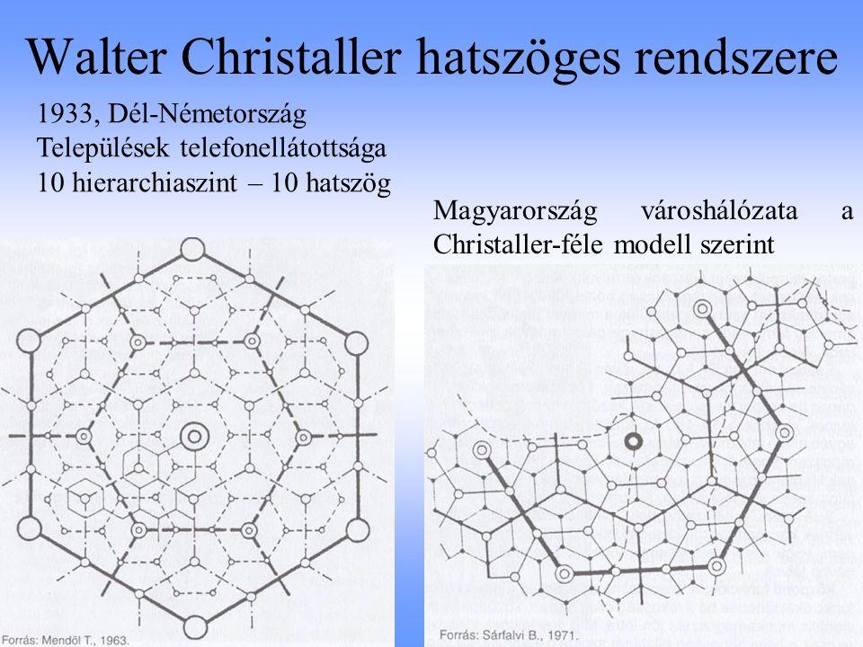 Walter Christaller hatszöges rendszere Magyarország városhálózata a Christaller-féle modell szerint 1933, Dél-Németország Települések telefonellátotts