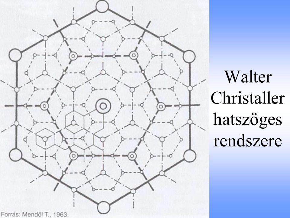 Walter Christaller hatszöges rendszere