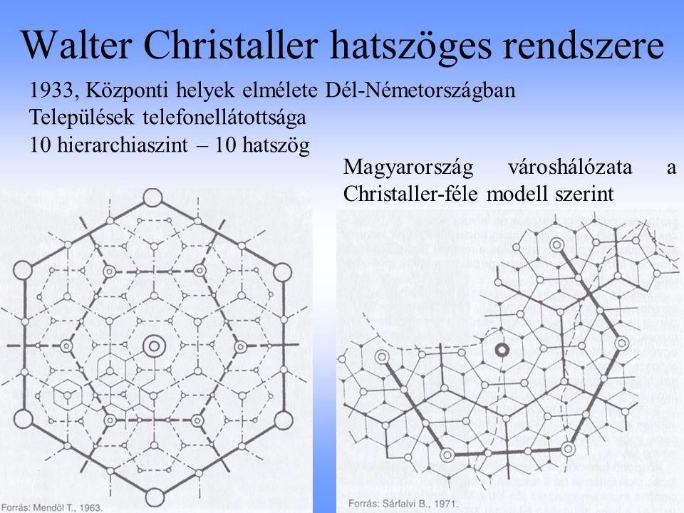 Walter Christaller hatszöges rendszere Magyarország városhálózata a Christaller-féle modell szerint 1933, Központi helyek elmélete Dél-Németországban