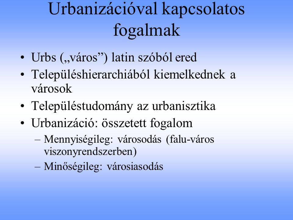 Városhálózat, -hierarchia, -rendszer Városhálózat (Urbanisztkai Lexikon) : –Városok rendszerének földrajzi leképeződése –Alapját a városok közötti kapcsolatok jelentik Városhierarchia (Ubanisztikai Lexikon) : –Különböző városi szintek rendszerén alapul –Az egymással szomszédos szinten álló városok alá- és fölérendeltségi viszonyban állnak egymással Városrendszer (Tóth Z.: A településeink világa) : –A hierarchia elismerése mellett a horizontális kapcsolatokkal is számol