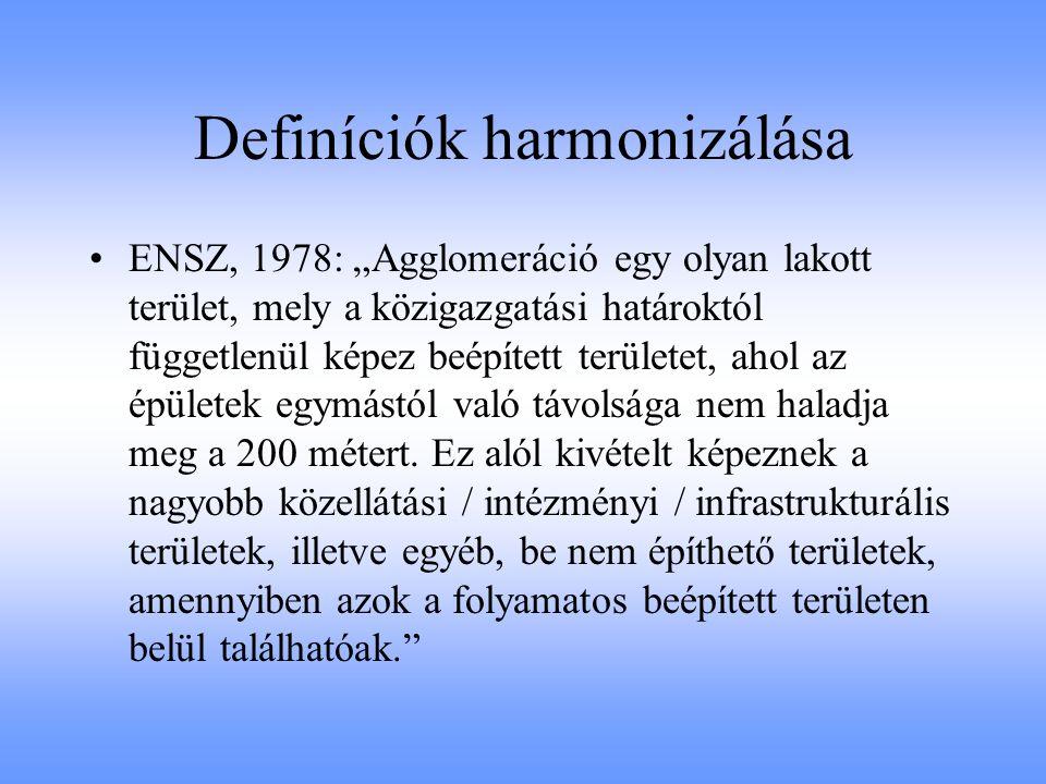"""Definíciók harmonizálása ENSZ, 1978: """"Agglomeráció egy olyan lakott terület, mely a közigazgatási határoktól függetlenül képez beépített területet, ah"""