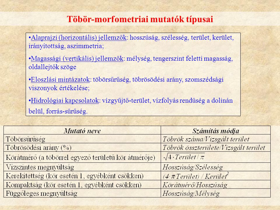 Töbör-morfometriai mutatók típusai Alaprajzi (horizontális) jellemzők: hosszúság, szélesség, terület, kerület, irányítottság, aszimmetria; Magassági (