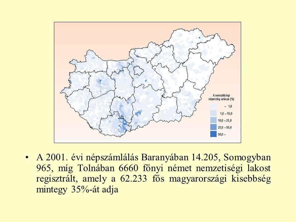 A 2001. évi népszámlálás Baranyában 14.205, Somogyban 965, míg Tolnában 6660 főnyi német nemzetiségi lakost regisztrált, amely a 62.233 fős magyarorsz