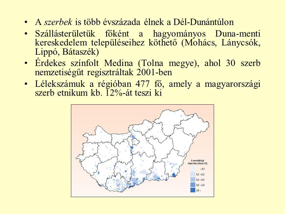 A szerbek is több évszázada élnek a Dél-Dunántúlon Szállásterületük főként a hagyományos Duna-menti kereskedelem településeihez köthető (Mohács, Lányc