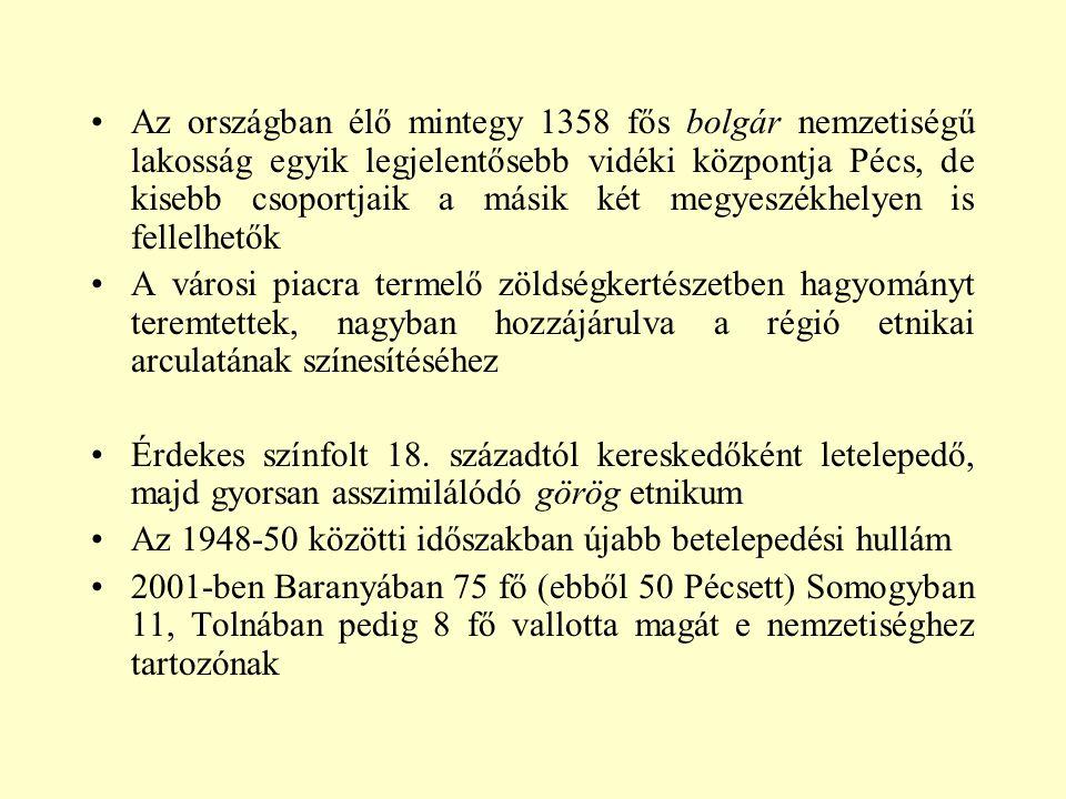 Az országban élő mintegy 1358 fős bolgár nemzetiségű lakosság egyik legjelentősebb vidéki központja Pécs, de kisebb csoportjaik a másik két megyeszékh