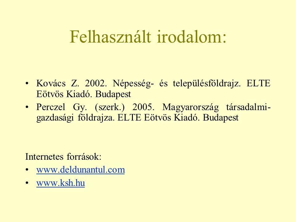 Felhasznált irodalom: Kovács Z. 2002. Népesség- és településföldrajz. ELTE Eötvös Kiadó. Budapest Perczel Gy. (szerk.) 2005. Magyarország társadalmi-