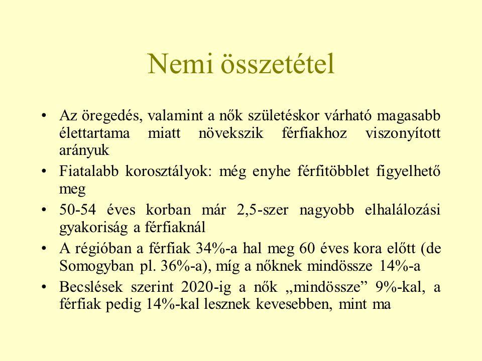 Migráció A népességszám változásában a természetes fogyás mellett az elvándorlásnak is fontos szerepe van a Dél-Dunántúli Régióban 1984-től évről-évre negatív vándorlási különbözet regisztrálható (a gazdasági recesszióval és a foglalkoztatási átrétegződéssel kapcsolatosan) A negatív egyenleg főként Somogy és Tolna megyékre jellemző (→ erőteljes elvándorlás) Baranyában valamivel kedvezőbb a helyzet, bár az 1990-es évektől itt is megtorpanás figyelhető meg (a bányászat leépülése egyes években negatív migrációs egyenleget eredményezett)