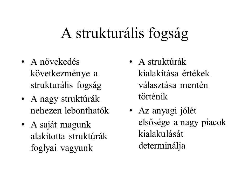 A strukturális fogság A növekedés következménye a strukturális fogság A nagy struktúrák nehezen lebonthatók A saját magunk alakította struktúrák fogly
