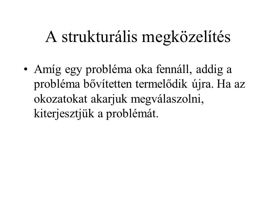 A strukturális megközelítés Amíg egy probléma oka fennáll, addig a probléma bővítetten termelődik újra. Ha az okozatokat akarjuk megválaszolni, kiterj